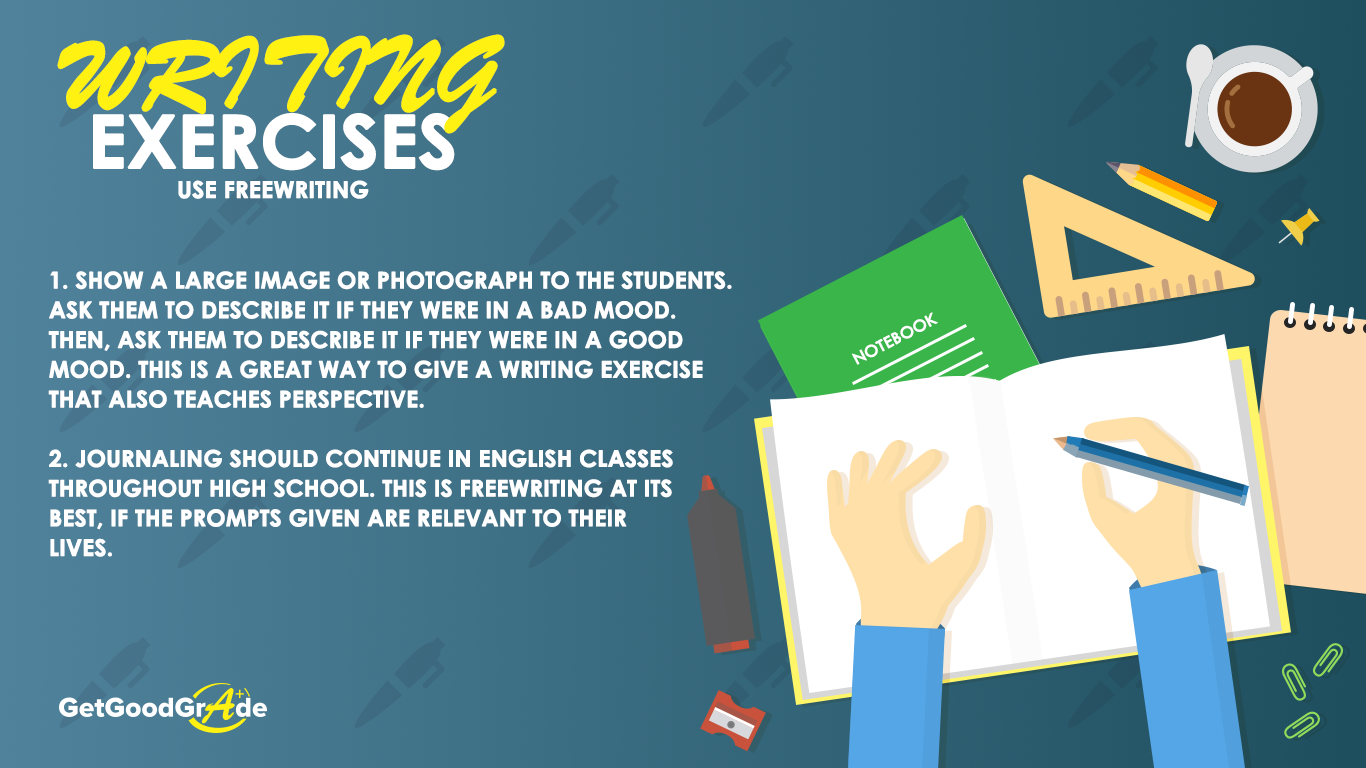 essay writing exercises for high school students Group creative writing exercises these exercises can be used in the classroom, at writing groups or in workshops, or you can use them if you want to practice creative writing with your friends.